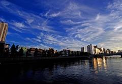 東京夕景〜小名木川から隅田川方面を眺める
