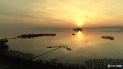 エリ網と夕日