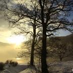 湖に日が昇る