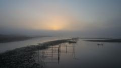 印旛沼・朝景 - 朝陽を待つ -