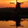 印旛沼・風車 - 夕暮れの虚像と実像 -