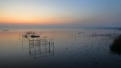 印旛沼・朝景 - 朝靄の遠景 -