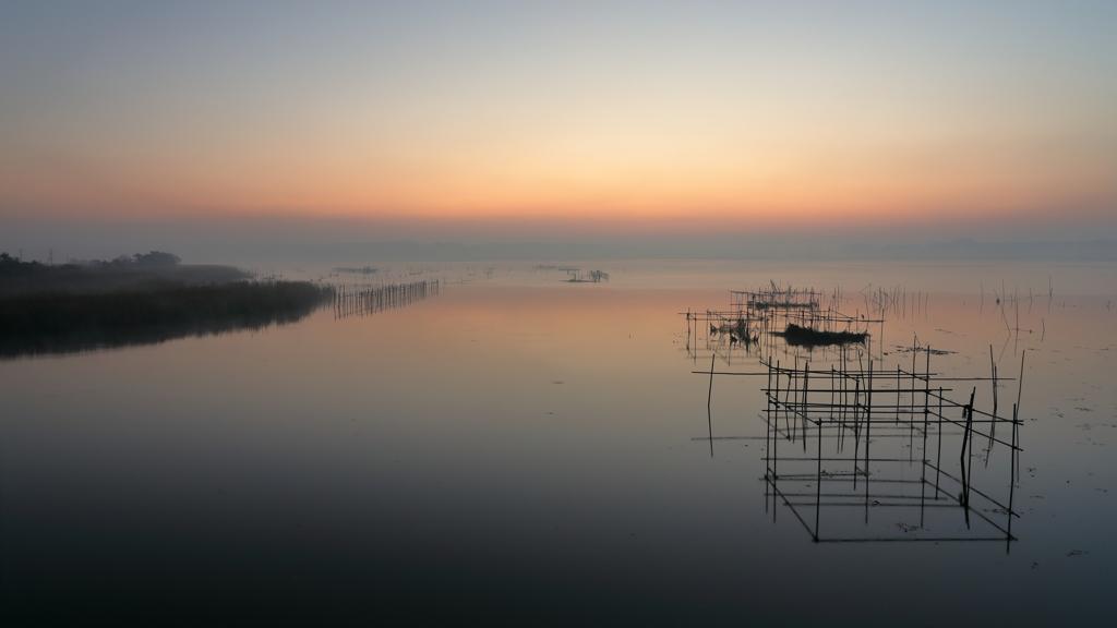 印旛沼・朝景 - 穏やかな靄の朝 -