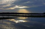印旛沼・朝景 - 夜明けの光芒 -