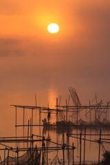 印旛沼・朝景 - 霧の暁日 -