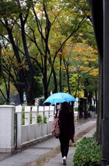 秋と霧雨と青い傘と・・・