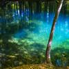 宝石色の池