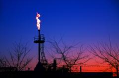 天然ガス田の炎
