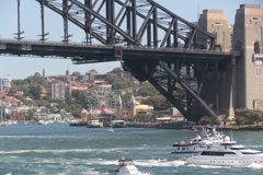 Luna Park Sydney behind Harbour Bridge