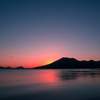 くれない色の朝 支笏湖