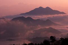 青葉山と港と雲海