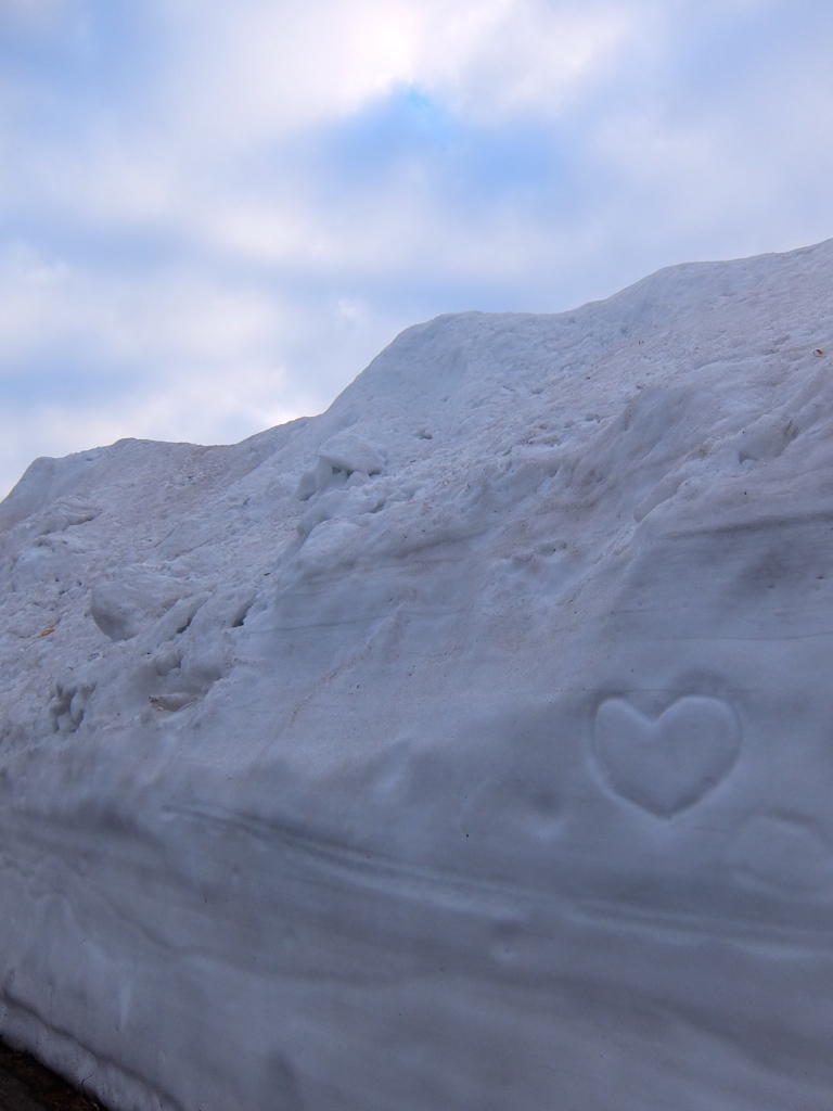 志賀草津道路の雪の回廊にハート。
