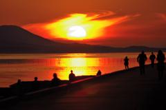 松江百景 燃える夕陽 宍道湖