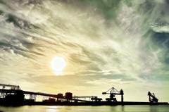 石見紀行 日本海の夕日 三隅港