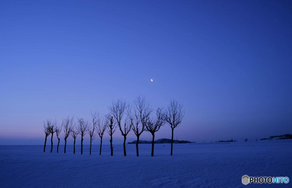 夜明け近くの月
