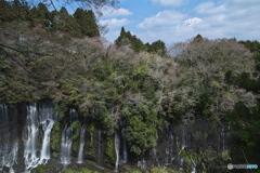 滝と富士の頂き