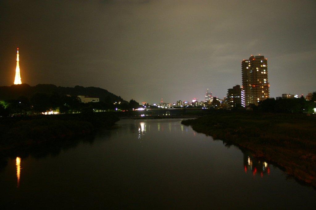 夜の散歩 広瀬川