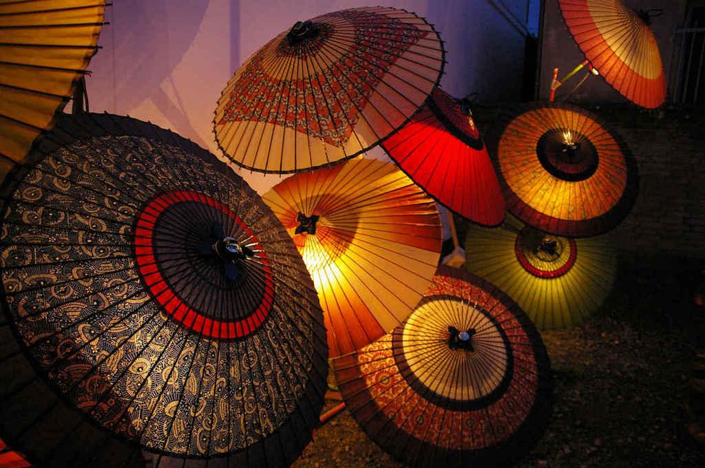 和傘のオブジェ