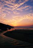 浜辺の落陽
