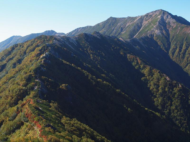 大天井岳への稜線
