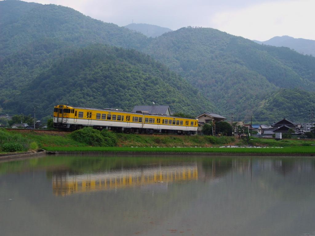 水面に映る列車