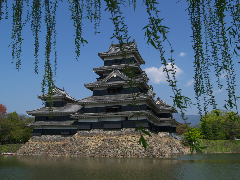 春の松本城
