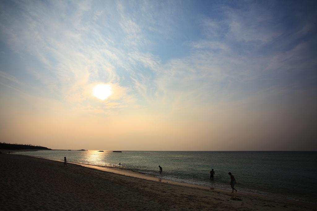 海岸で遊ぶ