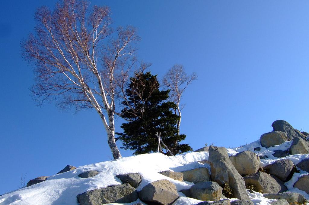 雪山の山頂で