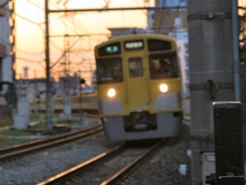 夕方、秋の西武新宿線