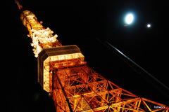 月と街灯と東京タワー