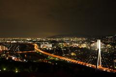 五月山より神戸を望む