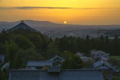 夕陽に輝く街並み