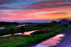 多摩川の夕暮れ