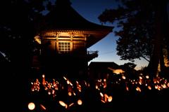 寺と竹灯籠2