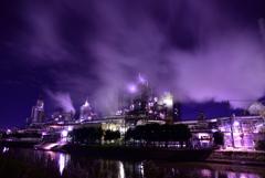 雲と蒸気と煙と工場夜景4