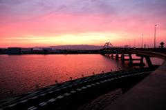 湾岸線の夕焼け
