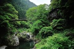 鳩ノ巣小橋とCafeぽっぽ