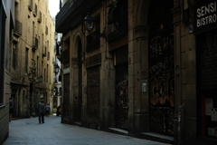 old street at barcelona