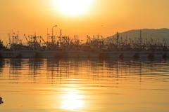 朝焼け輪島港