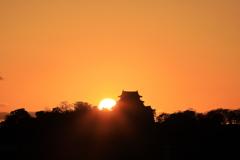 夕陽と彦根城