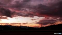 安曇野夕景(妖しい雲)