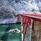 冬の庄川峡 淡雪淡陽