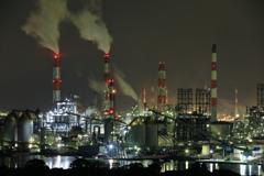 Night Factories in blue lights