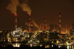 Night Factories in orange lights
