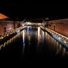 Quiet night Kanemori red brick warehouse