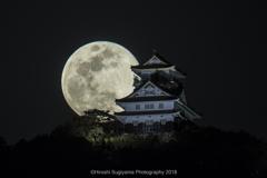 岐阜城と満月(BlueMoon2018)