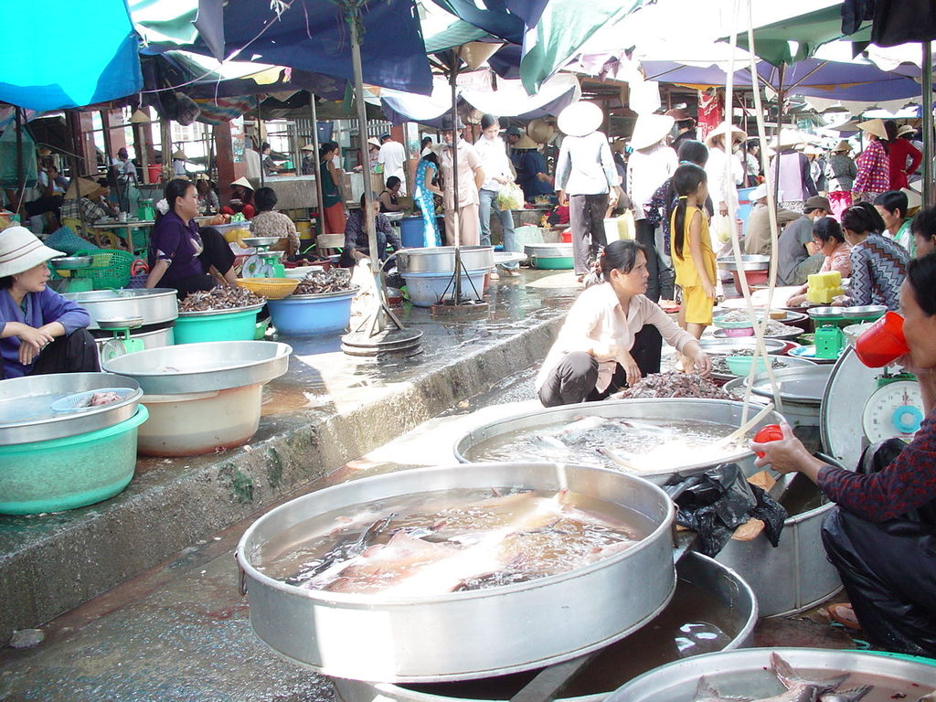 市場の鮮魚コーナー