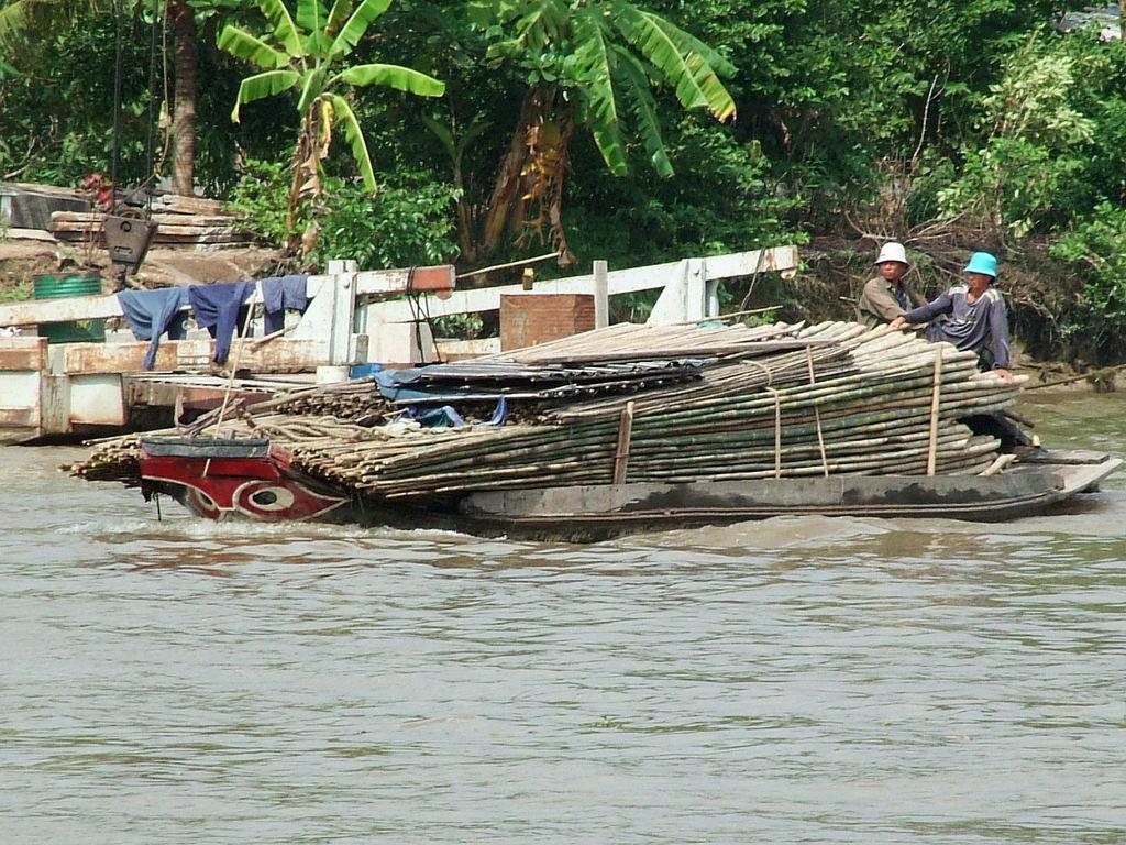 竹ざおを運ぶボート