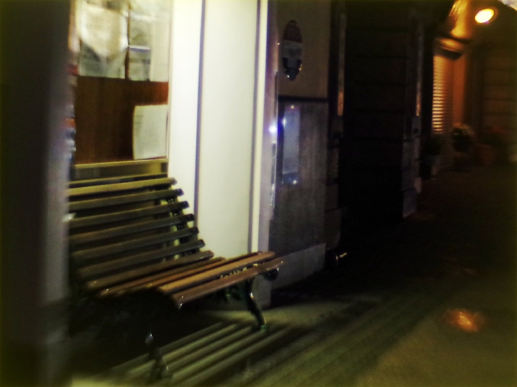 Road bench at night