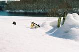 ふんわり雪と冬の川